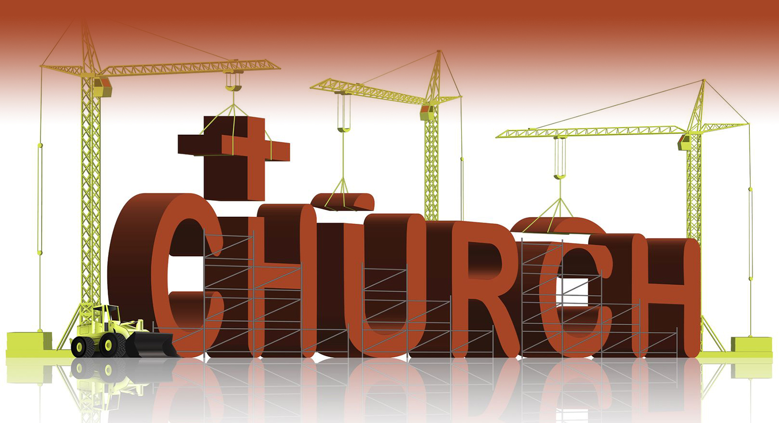 6542753 – building a church, tower cranes constructing 3d word